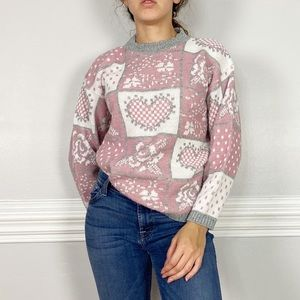 Vintage Cozy Heart Mock Neck Knit Sweater